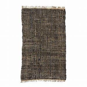 tapis en cuir et chanvre charbon madam stoltz pour With tapis en chanvre