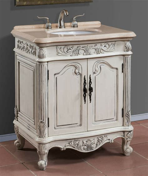 antique white single sink bath vanity  cream