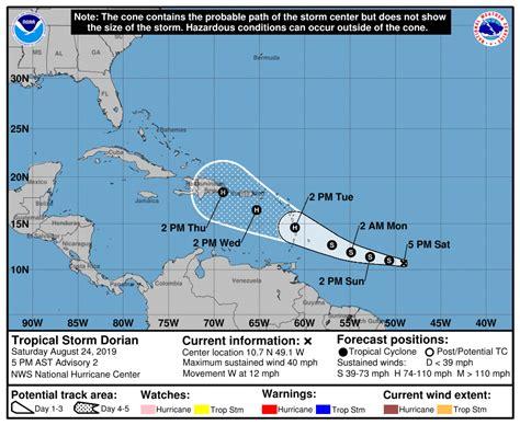 tropical storm dorian forms  impact lesser antilles