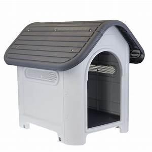 Large solid hard plastic pet dog house kennel weather for Hard plastic dog house