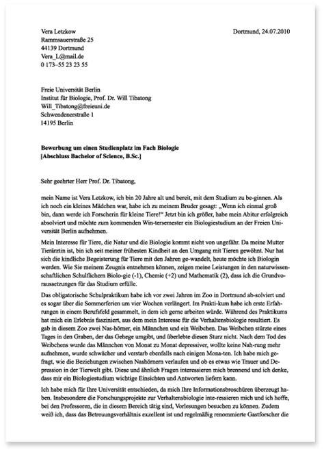 Schriftliche Bewerbung by Die Bewerbung Zum Studium Schriftliche Bewerbung Die
