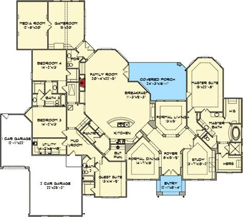 Large 2 Bedroom House Plans by This Floor Plan One Level Four Bedroom Media