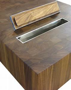 Wood Countertops with Trash Holes by Grothouse
