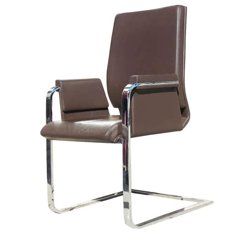 interstuhl modern chrome and leather chair pair at