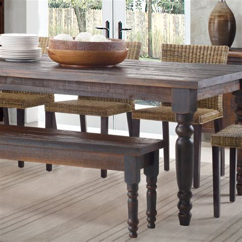 rustic dining table bench  farmhouse kitchen solid