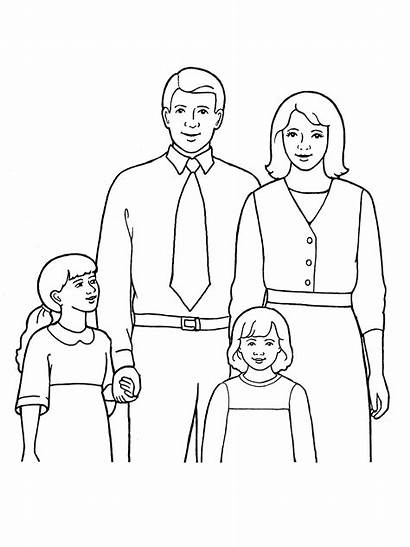 Drawing Four Line Coloring Pages Father Mother
