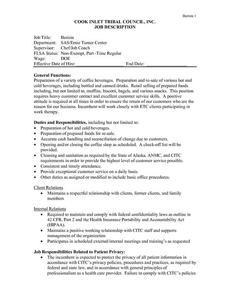 Barista Description Resume by Description Of A Barista For Resume Www Nyustraus