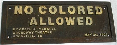 colored signs no colored allowed black americana cast iron sign 10x4