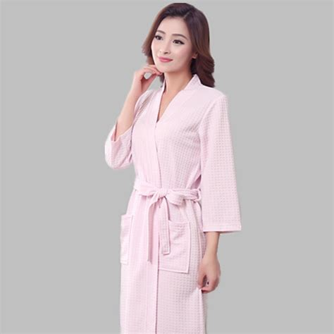 robe de chambre coton 2017 summer bathrobe thin section cotton waffle