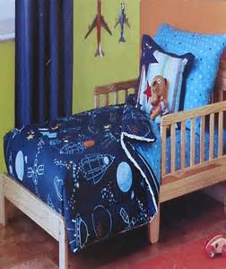 outer space rockets blue 4pc toddler bedding set new ebay