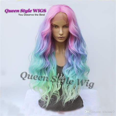 pastel colored wigs mermaid pastel rainbow hair wig synthetic rainbow color