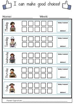 good choices weekly sticker chart   penn tpt