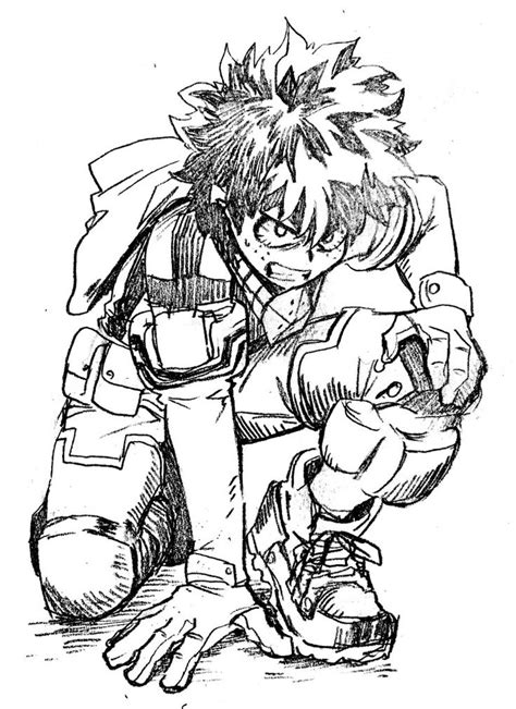 midoriya izuku sketches hero character drawing