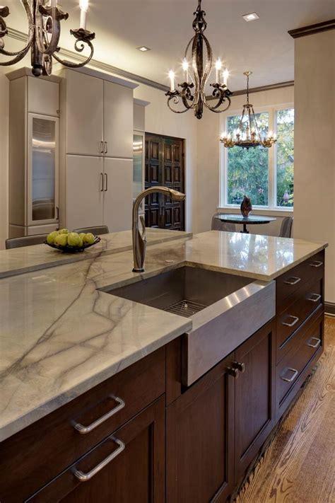 large kitchen island features  quartz countertop