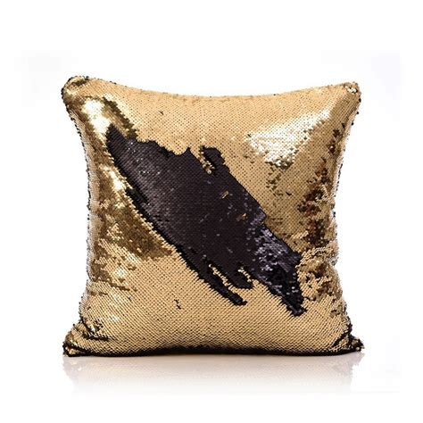 Mermaid Pillow Cover Gold/Black Change Color Sequins