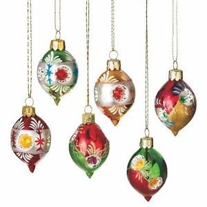 Set of 6 Retro-Style Reflector Glass Drop Christmas