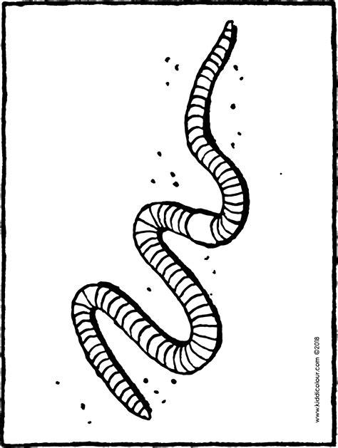 Kleurplaat Regenworm by Regenworm Kiddicolour