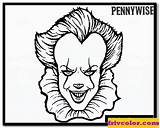 Pennywise Coloring Pages Clown Scary Character Save Credit sketch template
