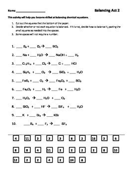 Balancing Chemical Equations Worksheet Part 2 By Seriously Science