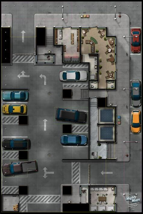 map maps parking rpg sci fi modern garage heroclix dungeon shadowrun cyberpunk game tiles floor plans d20 mighty atlas lot