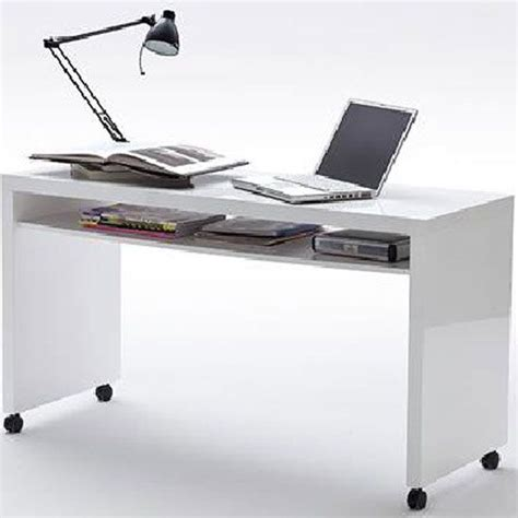 Office Desk On Wheels by Mike Computer Desk In High Gloss Finish With Wheels And 1