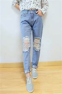 High Waisted Jeans With Holes Ye Jean