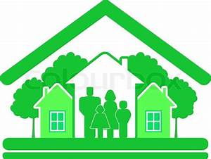Eco construction sign with green tree, house and big ...