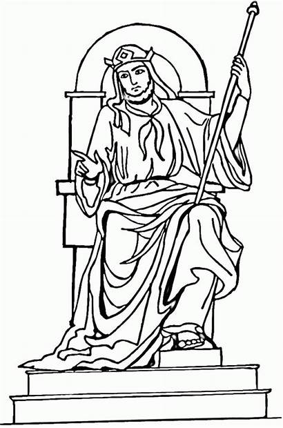 Throne King Solomon Coloring Drawing Pages God