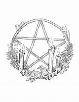 Pentagram Wheel Sabbat Coloring Wiccan Wreath Pentacle Wicca Prints Printable Pagan Drawings Tattoo Witch Colouring Witchy Adult Witchcraft Sabbats Samhain sketch template