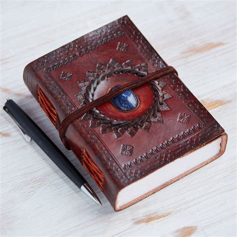 handcrafted indra medium stoned leather journal  paper