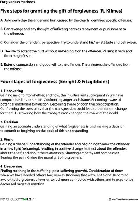 Forgiveness Methods Cbt Worksheet  Psychology Tools