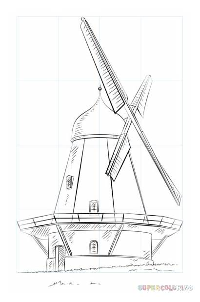Windmill Dutch Coloring Draw Drawing Pages Step