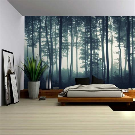 landscape mural   misty forest wall mural home decor