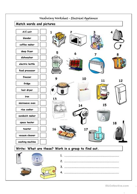 vocabulary matching worksheet home appliances worksheet