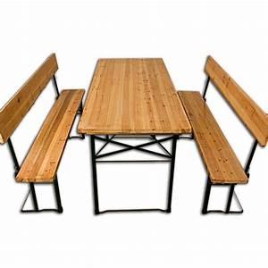 Table En Bois Avec Banc : table avec banc en bois pliantes style brasserie 180 cm ~ Teatrodelosmanantiales.com Idées de Décoration
