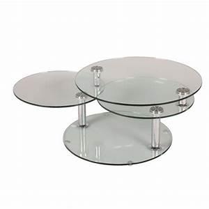 Table Basse Ronde Verre : tables modulables tables et chaises table basse design level ronde double plateaux inside75 ~ Teatrodelosmanantiales.com Idées de Décoration