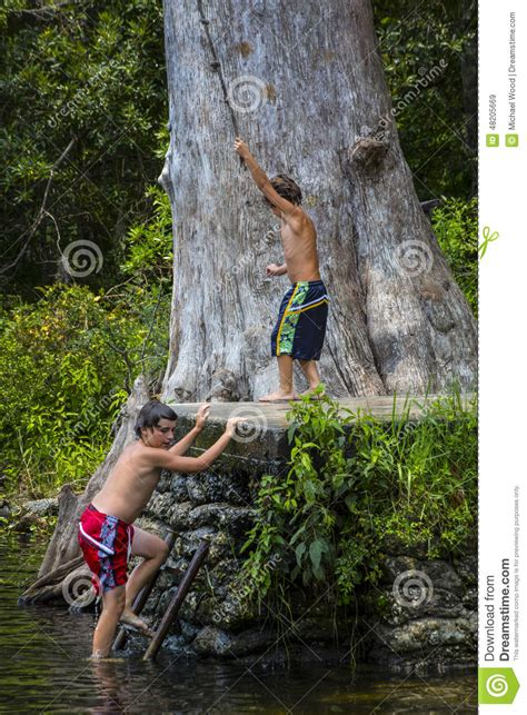 brothers rope swing wacissa river fl stock image