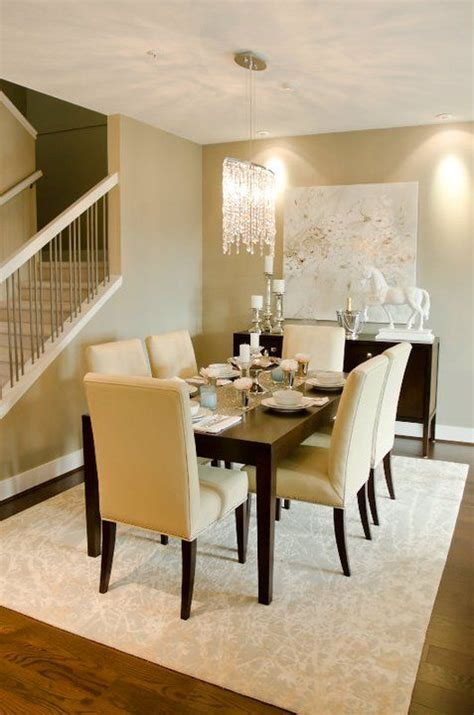 dining rooms crystal chandelier gray rug espresso modern buffet white horse statue glossy