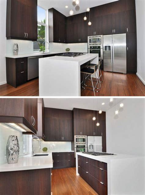 cuisine bois plan de travail blanc image de cuisine en bois sombre avec plan de travail blanc