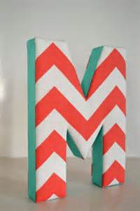 Teal Chevron with Letter M