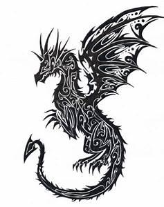 10+ Colored Tribal Dragon Tattoo