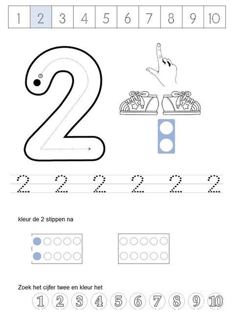 werkblad cijfer 2 school rekenen getalbegrip number 2 numbers and number