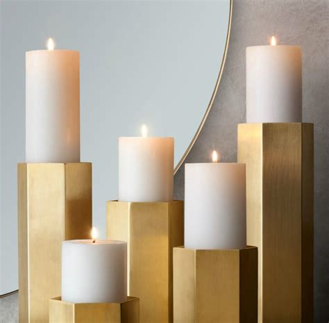 modern candle holders new brass furniture and decor from rh modern