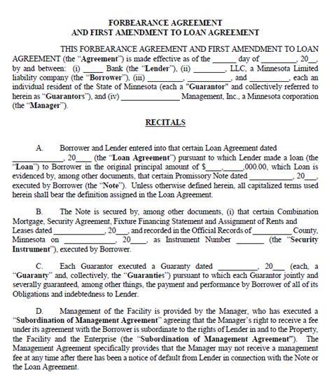 printable minnesota forbearance agreement printable