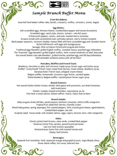 brunch buffet menu brunch buffet catering north shore boston catering