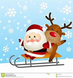 Funny, Santa, And, Deer, Stock, Vector, Illustration, Of, Horn
