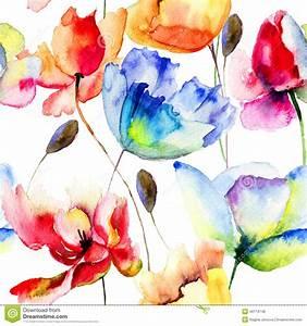 nahtlose tapete mit mohnblumen und tulpenblumen stock With balkon teppich mit tapete mit mohnblumen