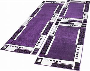 Tapis De Couloir : ensemble tapis de couloir tour de lit design tendance bordures couleur lilas cr me ensemble de 3 ~ Teatrodelosmanantiales.com Idées de Décoration