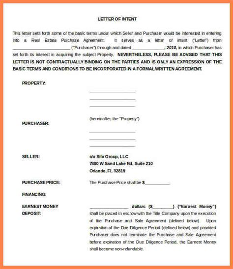 letter  intent  real estate purchase template