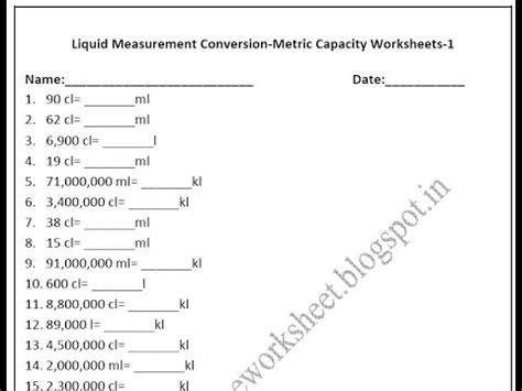 grade 4 metric capacity worksheets liquid measurement conversion youtube